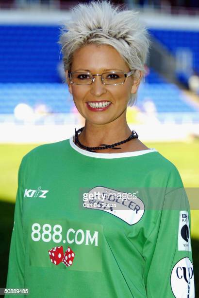 Ex Page 3 Girl Jo Guest poses at the annual 'Music Industry Soccer Six' fundraising tournament on May 23 2004 at the Madejski Stadium in Reading...