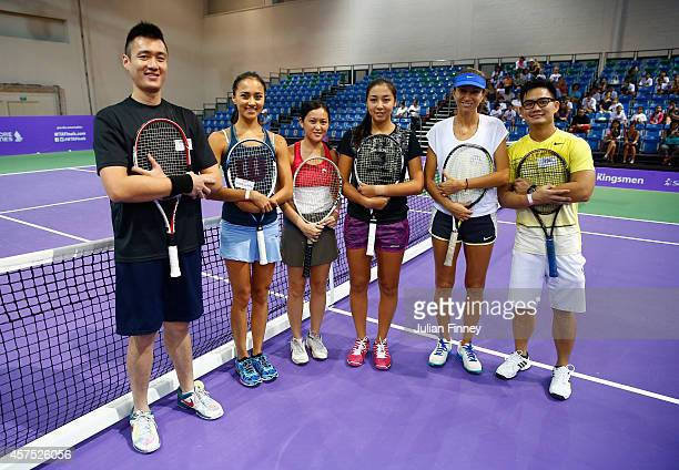 Ex player Iva Majoli and Rising Star Zarina Diyas of Kazakhstan pose for a photo with the sponsor pro am players during day one of the BNP Paribas...