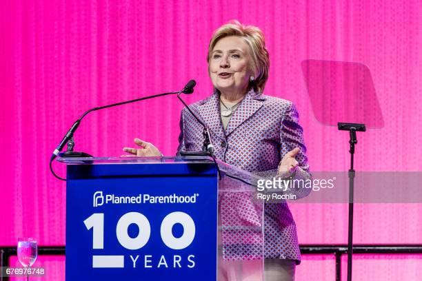 Ex Presidential nominee Hillary Clinton speaks during the Planned Parenthood 100th Anniversary Gala at Pier 36 on May 2 2017 in New York City