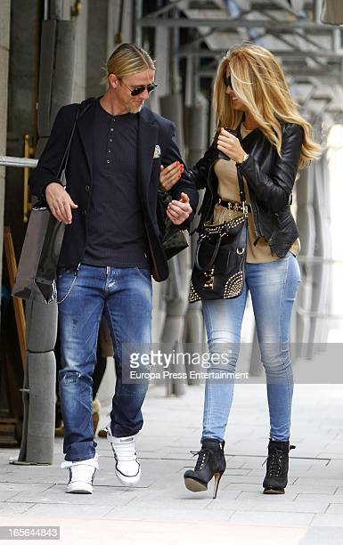 Ex Real Madrid football player Guti and Romina Belluscio are seen going for shopping on April 4 2013 in Madrid Spain
