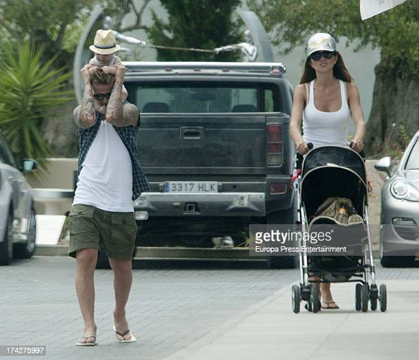 Ex Real Madrid football player Guti Romina Belluscio and their son Enzo are seen on July 22 2013 in Ibiza Spain
