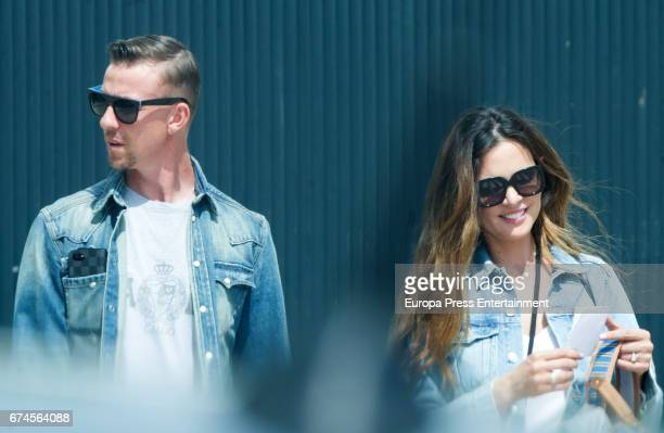 Ex Real Madrid football player Jose Maria Gutierrez Guti and his wife Romina Belluscio are seen on April 20 2017 in Madrid Spain