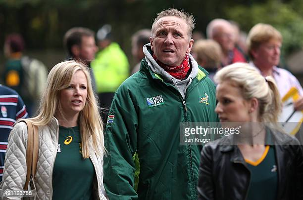 Ex South African fast bowler Alan Donald arrive ahead of the 2015 Rugby World Cup Pool B match between South Africa and Scotland at St James' Park on...