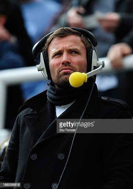 Ex Sunderland player and radio pundit Michael Gray looks on before the Barclays Premier League match between Newcastle United and Sunderland at St...