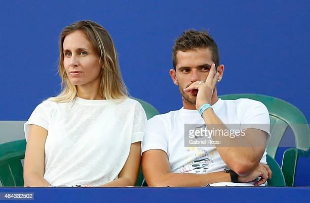Ex tennis player Gisela Dulko and Fernando Gago player of Boca Juniors look the doubles match between Frantisek Cermak and Jiri Vesely of Czech...