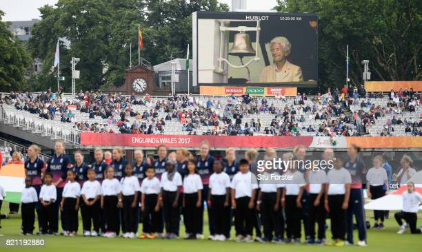 Ex Test cricketer Eileen Ash appears on the big screen ringing the 5 minute bell before the ICC Women's World Cup 2017 Final between England and...
