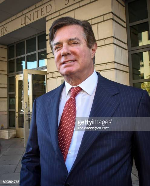 Ex Trump campaign official Paul Manafort departs US District Court on November 2017 in Washington DC