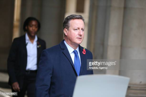 Ex UK Prime Minister David Cameron arrives at Downing Street after attending the Remembrance Sunday ceremony in Whitehall, London on November 8, 2020.