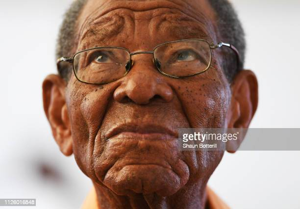 Ex West Indies cricketer Sir Everton Weekes during Day Four of the First Test match between England and West Indies at Kensington Oval on January 26...