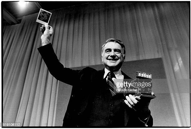 [NOTE Exact date and location unknown] Dr Edwin H Land Chairman of the Board and Director of Research of Polaroid Corporation holds up a color...