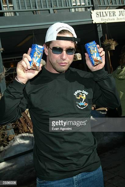 Exactor Stephen Baldwin hawks his coffee drink Loco Joe on Main Street during the 2003 Sundance Film Festival in Park City Utah January 19 2003 Photo...
