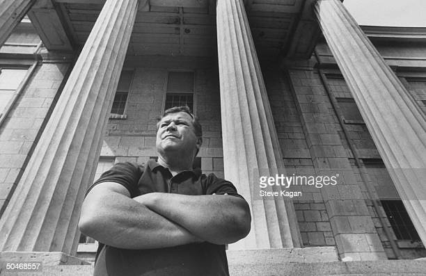 Ex-actor/self-proclaimed pres. Cand. Tom Laughlin posing on the front steps of the old state capitol bldg. During his campaign tour of the state.