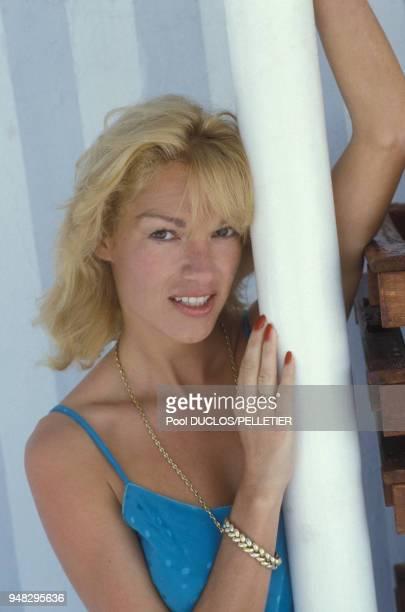 L'exactrice de films pornographiques Brigitte Lahaie au Festival de Cannes le 10 mai 1987 à Cannes France