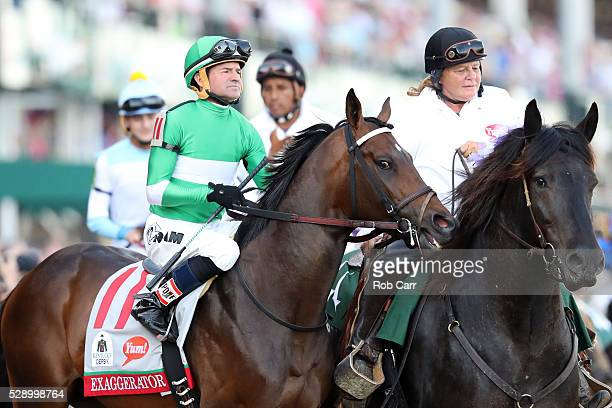 Exaggerator ridden by Kent Desormeaux walks on the track prior to the 142nd running of the Kentucky Derby at Churchill Downs on May 07 2016 in...