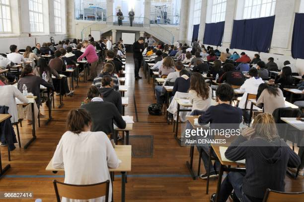Examination of the Baccalaureat in Clemenceau school in Nantes western France on June 16 2011