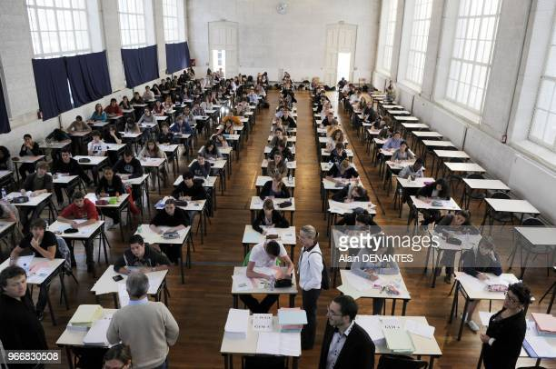 Examination of the Baccalaureat in Clemenceau school, in Nantes, western France, on June 16, 2011.