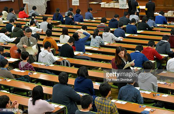 Examination papers are distrubuted prior to the national center exams at Tokyo University on January 17, 2015 in Tokyo, Japan. 559,132 who wish to...