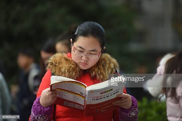 Examinees prepare for the 2017 China Civil Service Examination at the exam site of Nanjing Forestry University on November 27 2016 in Nanjing Jiangsu...