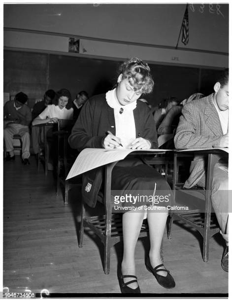 Examiner History Awards Contest at Catholic Girls High School 07 November 1951 Margaret Alston 17 years Mary Ann Lane 16 years John Hennessy 16...