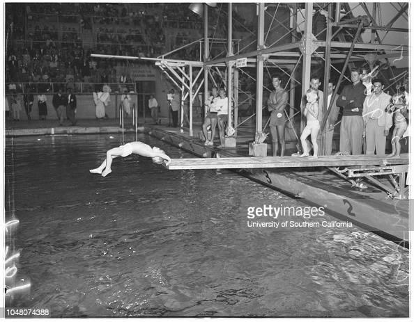 Examiner Swimming Meet, 28 June 1951. Kent Maus diving ...