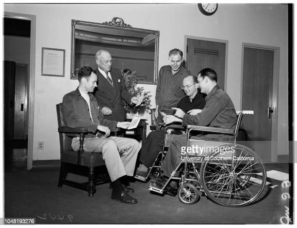 Examiner war wounded fund at Long Beach Veterans Administration Hospital 21 December 1951 Leonard H Dickey ExArmy CorporalJacob Jackson ExArmy Master...