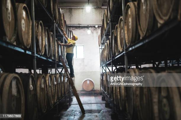 examining barrel in distillery - distillery stock pictures, royalty-free photos & images