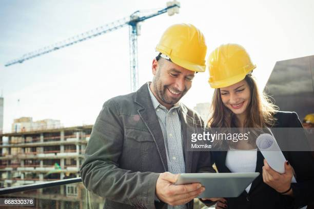 Examining the construction works