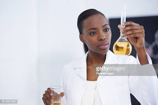 Examining the results of her experiment