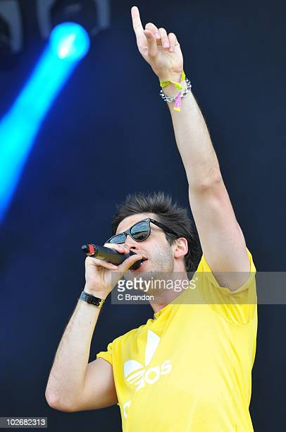 Example aka Elliot Gleave performs on stage during the second day of the Wireless Festival in Hyde Park on July 3 2010 in London England