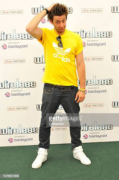 Example aka Elliot Gleave poses backstage during the second day of the Wireless Festival in Hyde Park on July 3 2010 in London England