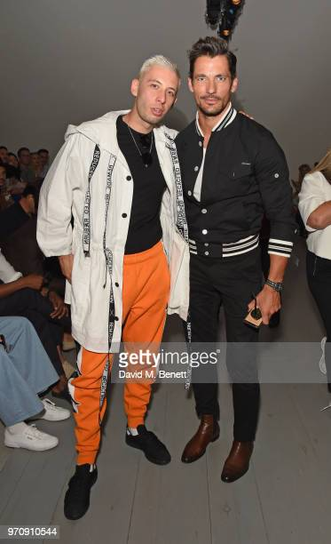 Example and David Gandy attend the Christopher Raeburn show during London Fashion Week Men's June 2018 at the BFC Show Space on June 10 2018 in...