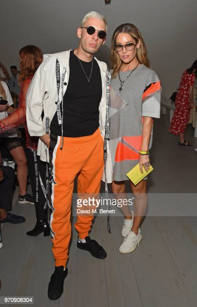 Example and Erin McNaught attend the Christopher Raeburn show during London Fashion Week Men's June 2018 at the BFC Show Space on June 10 2018 in...
