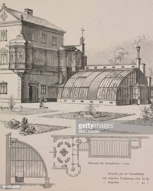 Example of a greenhouse connected to the winter garden engraving Skizzen und Typen plate 178 designs by Rudolph Philip Waagner 1891