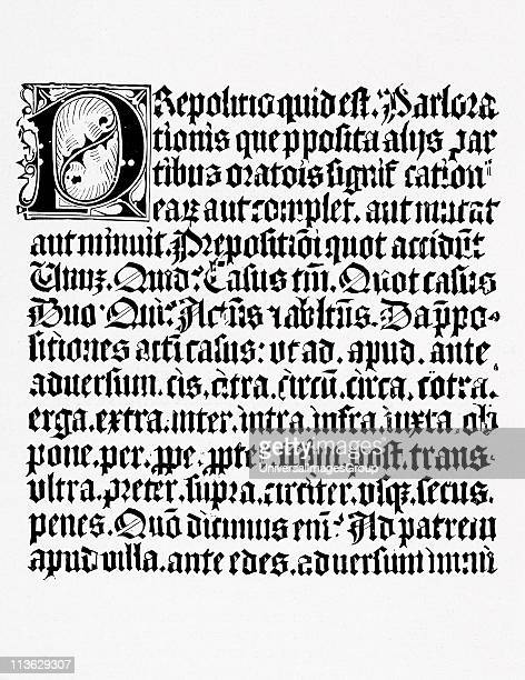 Example of a page of xylography or wood engraving about the preposition from a grammar book printed in Mainz circa 1450 by Johann Fust and Johannes...