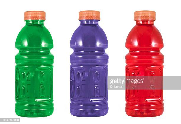 Example of different colored sports drinks