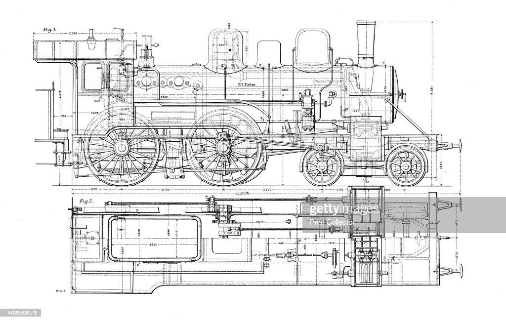 u0026 39 example of mechanical drawing u0026 39   1901  diagram of a steam locomotive     news photo