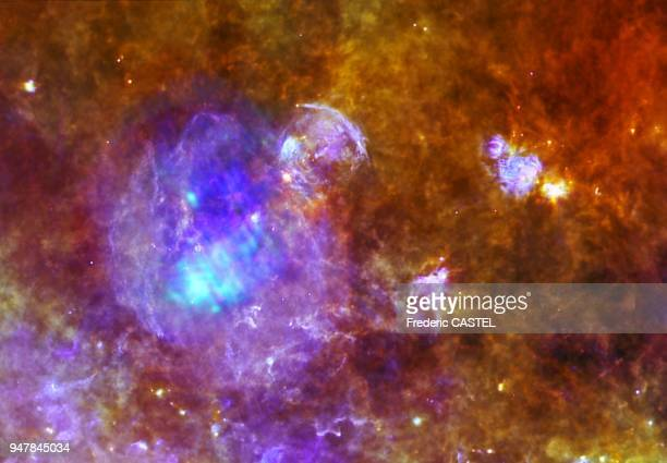 Example of pulsar called PSR B185301 It is the bright point to the top left in supernova remnant called W44 Like other pulsars as it rapidly rotates...