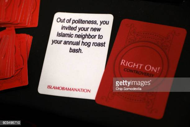 Examples of cards from the 'Right On' game which is for sale inside the Conservative Political Action Conference Hub at the Gaylord National Resort...