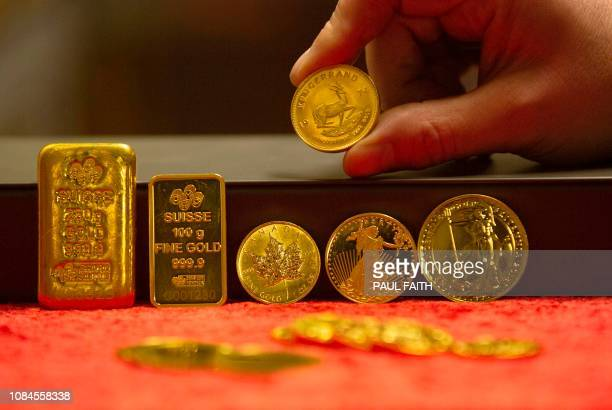 Examples of gold bullion are on show at Merrion vaults in Dublin on January 7 2019 In a vault under the streets of Dublin a pot of gold owned by...