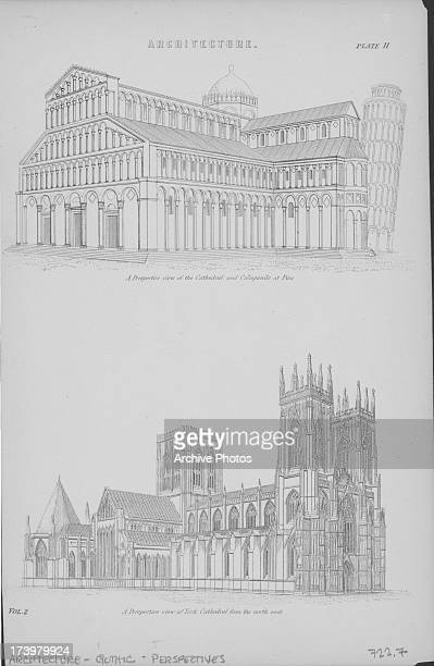 Examples of Gothic architecture cathedrals in perspective including York Minster England