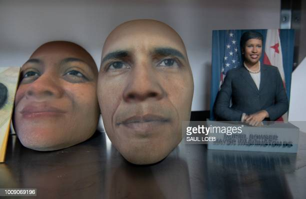 Examples of products that can be created using a 3Dprinter including figurines and faces such as former US President Barack Obama are seen at ABC...