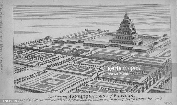 Examples of the Seven Wonders of the ancient world; the Hanging Garden of Babylon, circa 400 BC.