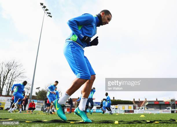 ExArsenal player Craig Eastmond takes part in a training session during a Sutton United FA Cup media day on February 16 2017 at the Borough Sports...
