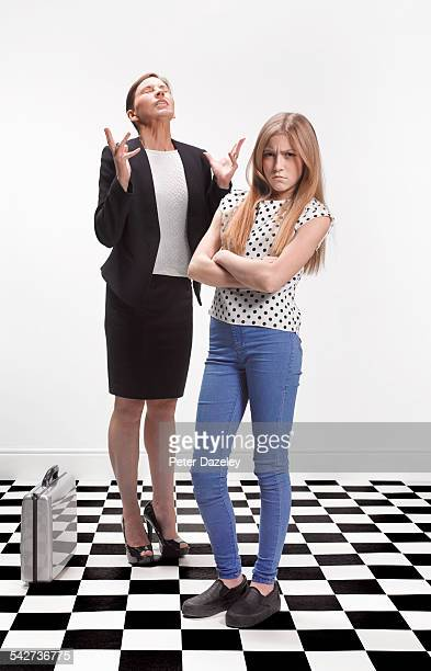 Exasperated mother with daughter