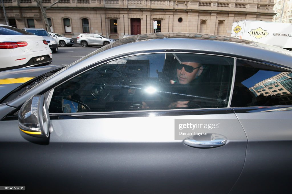 Ex-Bandido Bikie Toby Mitchell gets in a car outside the Melbourne County Court on August 10, 2018 in Melbourne, Australia. Mitchell pleaded guilty last month to assaulting a man who had been provoking him at a Southbank restaurant in December last year.
