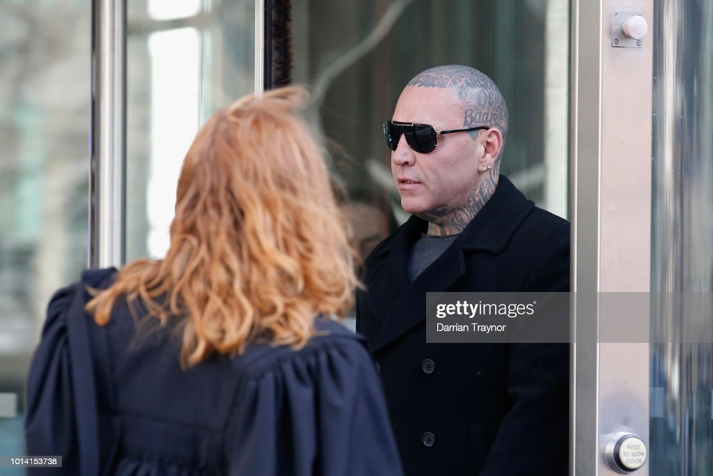Ex-Bandido Bikie Toby Mitchell is seen outside the Melbourne County Court on August 10, 2018 in Melbourne, Australia. Mitchell pleaded guilty last month to assaulting a man who had been provoking him at a Southbank restaurant in December last year.