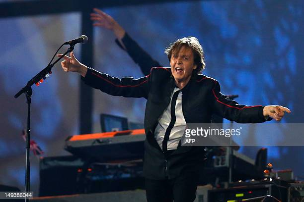 ExBeatle Sir Paul McCartney performs during the opening ceremony of the London 2012 Olympic Games on July 27 2012 at the Olympic stadium in London...