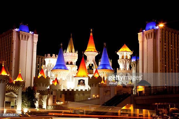 excalibur hotel casino in las vegas at night - excalibur stock photos and pictures