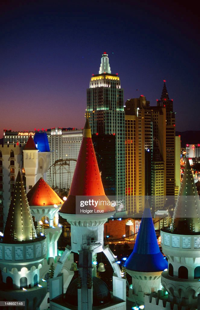 Excalibur Hotel Towers and New York, New York Hotel. : Stock Photo
