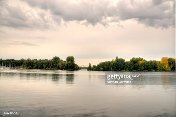 excavated lake masurensee in duisburg, germany - beschaulichkeit stock pictures, royalty-free photos & images
